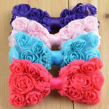 12pcs boutique hair bow without clip kids chiffon shabby chic rosette bows 3inch pink white ivory orange blue red purple peach