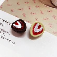 Kawaii 100pcs/Lot  chocolate Strawberry with Embellishment Resin Cabochons, Summer Style Food Cabochon Deco DIY Jewelry