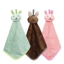 Ouneed Happy Quick Dry Towel Beauty Newly Three Colors Kitchen Cartoon Animal Hanging Cloth Soft Plush Dishcloths Hand Towel