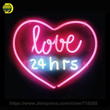 Neon Sign Real Glass Love 24hrs Neon Light Sign Beer Pub Restaurant Home Display Arcade signs handcraft Sign Publicidad VD 17x14