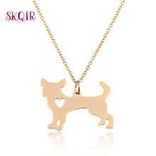 Standing Chihuahua Necklace Stainless Steel Pendant Necklace Gold Plate Long Chain Korea Hot Dog Suspension Choker Retro Jewelry