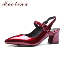 Meotina Women Shoes Genuine Leather Pumps Chunky High Heels Mary Jane Footwear Pointed Toe Slingback Black Plus Size 42 43 - Trend Store store