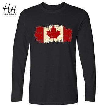 HanHent Canadá Bandeira Canadense Folha Nova camiseta de Manga Longa Homens 2016 Outono Casual Masculino Streetwear Tshirt O Pescoço Da Marca T-shirt
