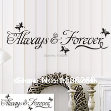 Loving Quotes With Black Butterfly Stickers for Always forever Decal for Living Room Bedroom Decoration