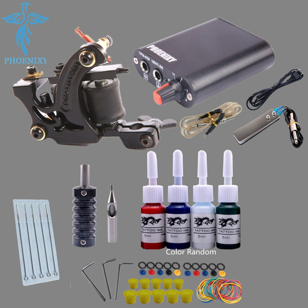 Completed Tattoo Machine Kit 10 Coils Guns Set 4 Colors Ink Black Pigment Sets Power Tattoo Beginner Grips Kits Permanent Makeup<br>