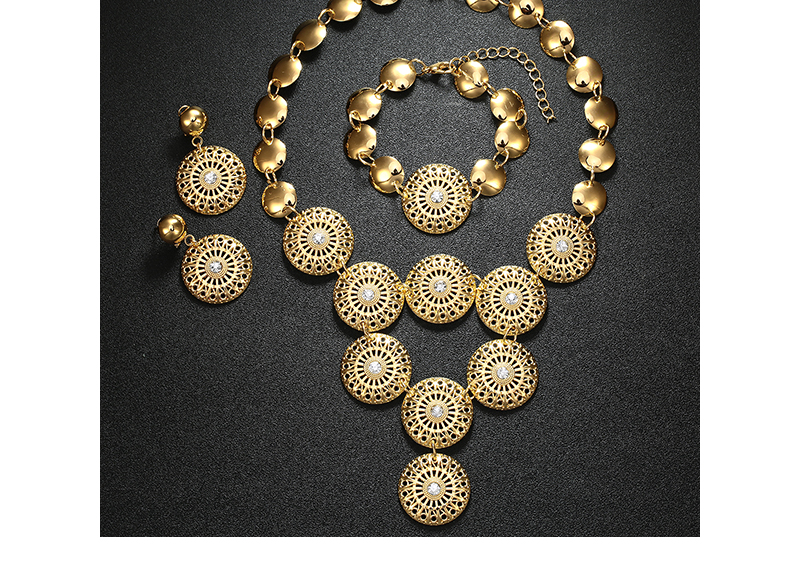 BTSETS African Jewelry Set Nigerian Wedding Jewelry Sets For Brides Silver Gold Color Round Ladies Fashion Jewelery Sets (5)