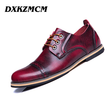 DXKZMCM 2017 Classic Genuine Leather Men Oxford Dress Shoes Male Party Wedding Office Retro Formal Shoes