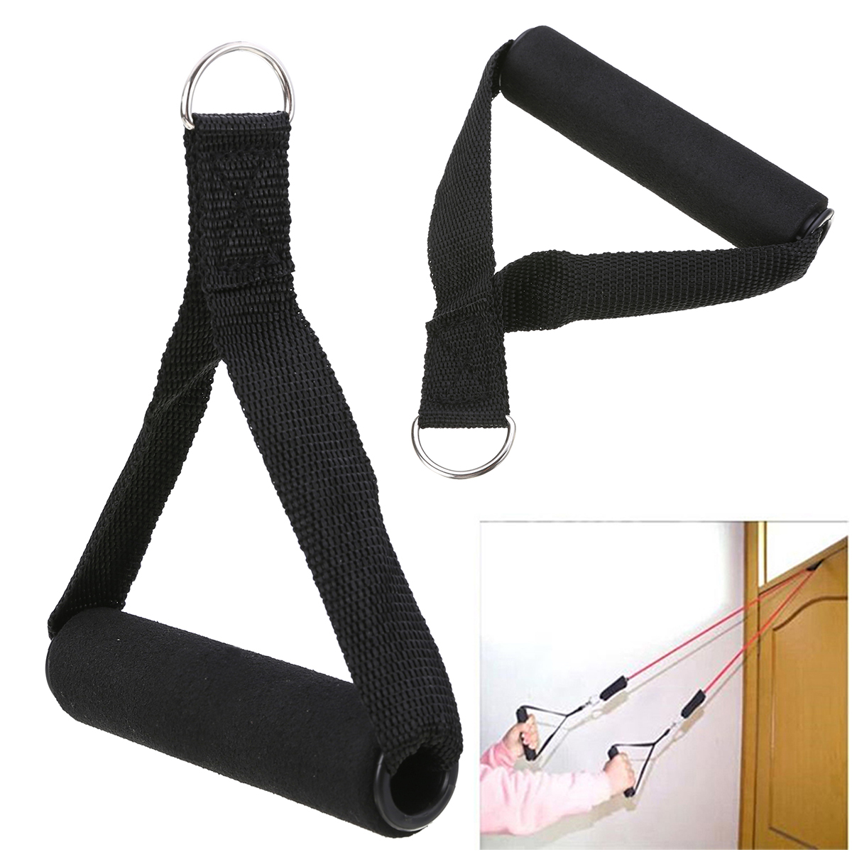 1Pcs Nylon Tricep Rope Cable Attachment Handle V Bar Fitness Sports Yoga Exercises Gym Attachment Resistance For Body Building