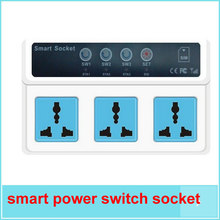Remote cellphone Control Wireless GSM SIM Energy Saving 3 Sockets Smart Power switch socket