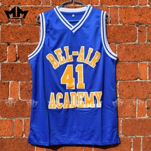 MM MASMIG The Fresh Prince of Bel-Air Will Smith 41 Bel-Air Academy Basketball Jersey Blue S to 3XL(China)