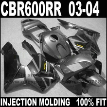 Road/race Injection motorcycle part for CBR 600 RR 2003 2004 CBR600RR fairings set CBR600 03 04 black gun gray fairing ki(China)