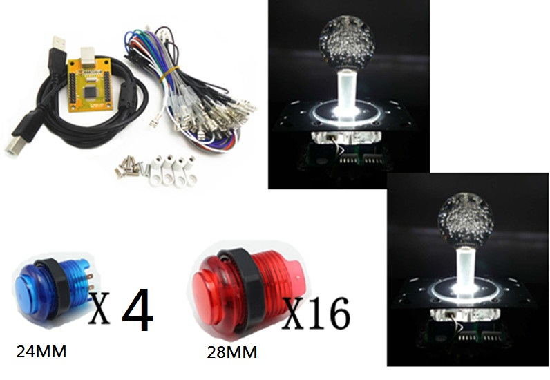 5V lighting joysticks buttons with 2 players PC PS/3 2 IN 1 Arcade to USB controller 2 player MAME Multicade Keyboard Encoder <br>