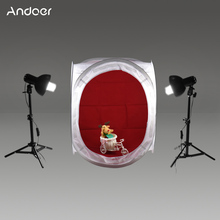 Andoer 60 * 60 * 60cm Photography Studio Cube Tent 2pcs Lampshade with Lamp Holder 45W Light Bulb Light Stand Non-woven Backdrop