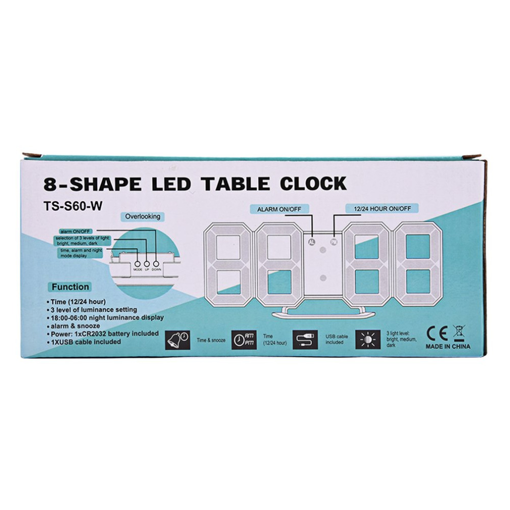 Multi-use 8 Shaped LED Display Desktop Digital Table Clocks ...
