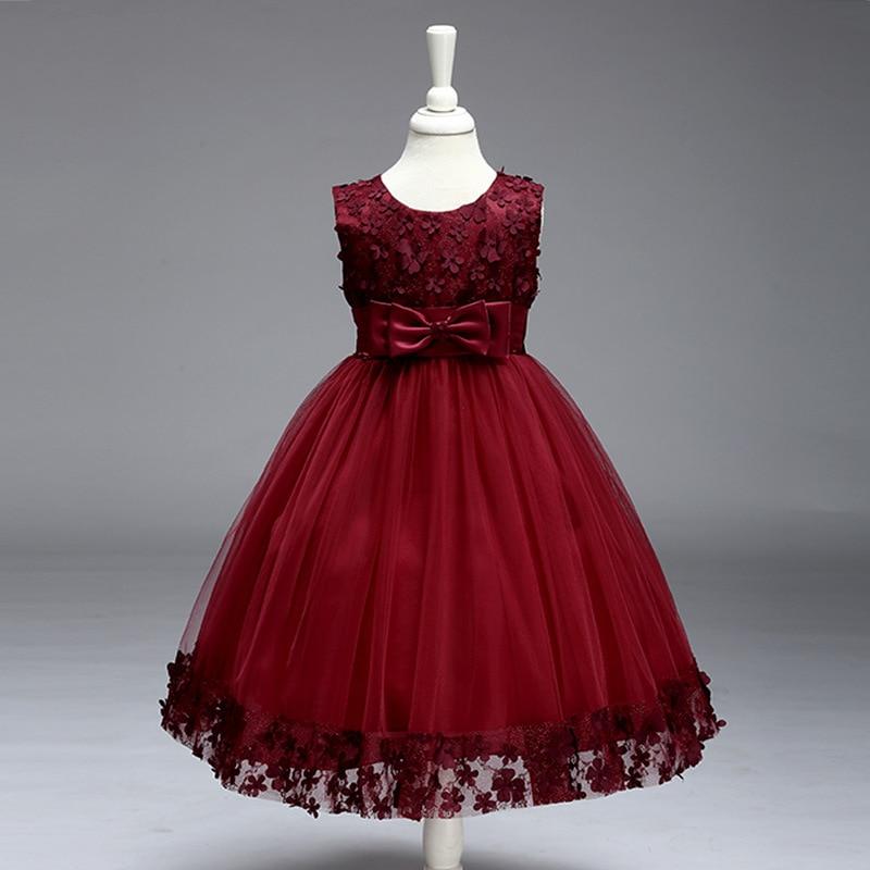 High Quality Lace Girl Party Dress 2017 New Girl Dress Flowers Embroidery Birthday Tutu Dress Stylish Elegant Princess Dress<br>