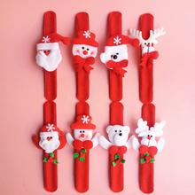 12pcs Random Pattern Santa Claus Slap Bracelet Xmas Christmas Wristband Snowman Gift Party Decor Pat Hand Circle