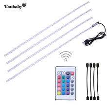 Tanbaby 4 x 50cm USB RGB LED Light Strip Kit TV Backlight Flexible Waterproof rope with 24 Keys Remote Controller(China)