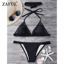 ZAFUL Bikini Mesh Insert Bikini Set With Choker Sexy Halterneck V String Plunge Swim Top and Bottoms Brazilian Biquni Women(China)