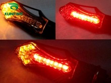 Motorcycle Turn Signals Light Indicators 12V 13SMD Yellow Signals+ red brake Light Multi-Functional Arrow Turn Signal