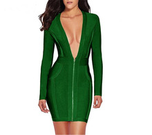 2018 new arrivals green long sleeve front zippers deep v neck sexy women's autumn and winter knitted slim bandage club dress(China)