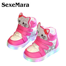SexeMara Kids Casual Lighted Shoes Girls Glowing Sneakers Children Hello Kitty Shoes With Led Light Baby Girl Lovely  shoes