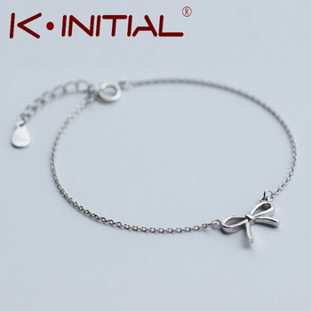 Kinitial 1Pcs 2017 Hot Knot Pendant Chain Bracelet Bangle Fashion 925 Silver Bowknot Bracelets Charm Cuff Jewelry For Woman Gift