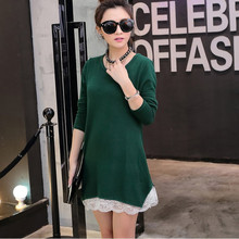 2017 candy color autumn winter Fashion Women long sleeve Dresses mini Dress girl casual cotton wool lace tunic elegant green(China)