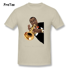 Man's Louis Armstrong Vinyl T Shirt Cotton Musician O Neck Tshirt Tee-shirt Adult 2017 Jazz Music Customized T-shirt For Male