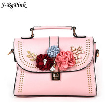 Beauty Printed Flower Summer Bag Pretty Stud Satchels Women White Pink Leather Handbags Luxury Designer Beach Bag