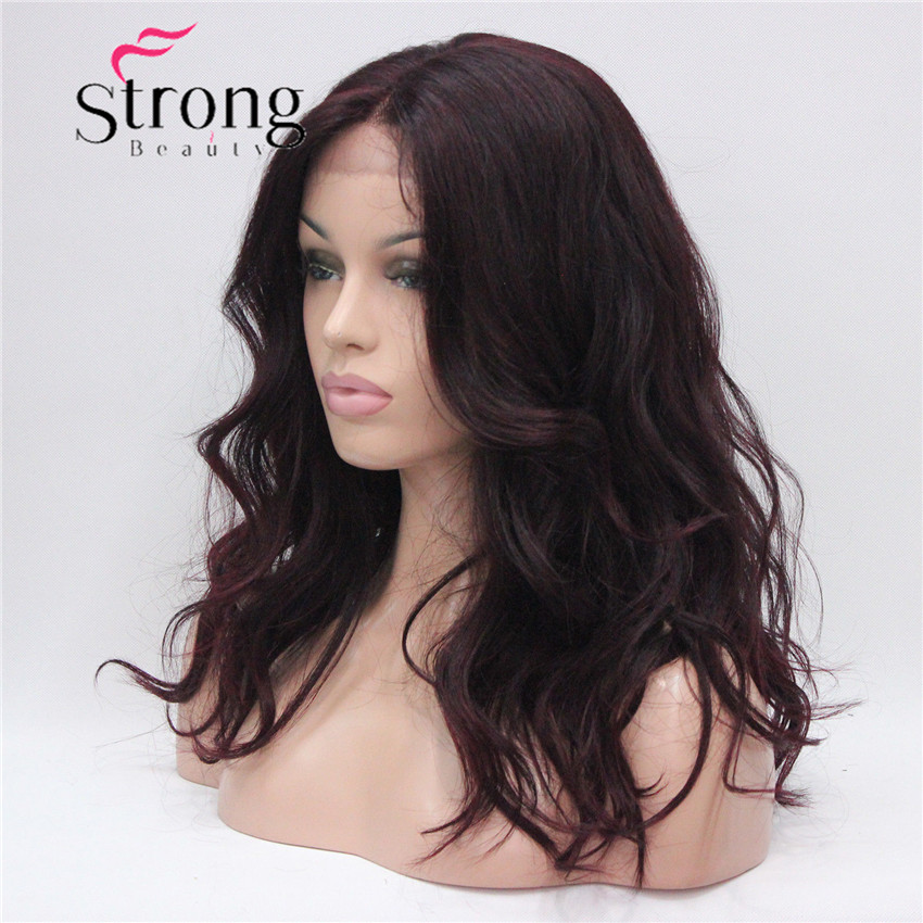 HHG-9126 #T1B-99T Lace Front Wig Quality Heat Ok Synthetic Off Black Mix Deep Purple Wavy Long Wig (3)
