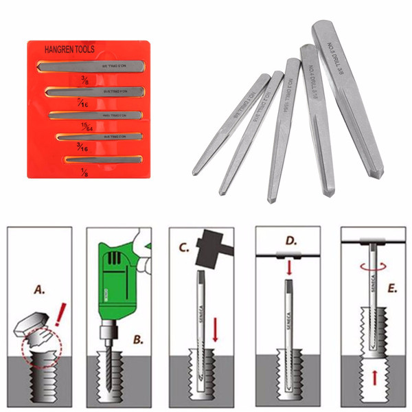 5pcs 1/8 3/16 15/64 5/16 3/8 Inch Damaged Nut Screw Extractor Set Bolt Stud Square Remover Tool Kit