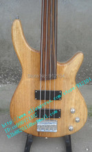 free shipping new fretless electric bass guitar  with basswood body in natural color+foam box F-330