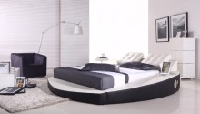 contemporary modern leather audio round bed King size bedroom furniture Made in China