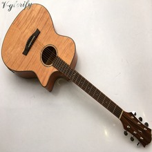 Hand-made Okoume flame maple wood acoustic electric guitar 40inch(China)