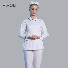 Viaoli Medical Uniforms Nursing Scrubs Clothes for Beauty Short Sleeve coat Doctor Clothing Hospital Work Dress White(China)