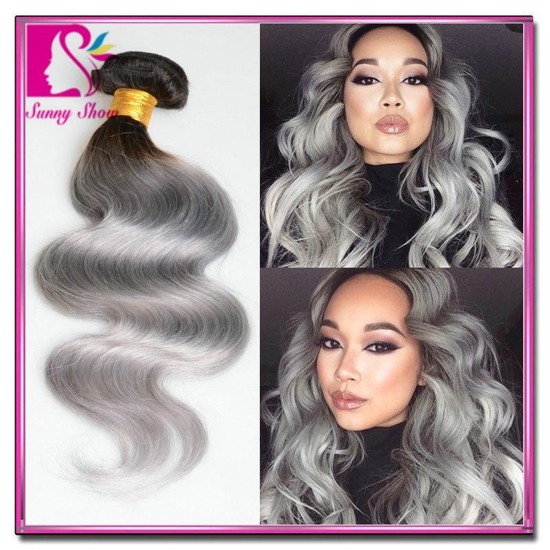 7A New star virgin brazilian hair cheap two tone ombre grey weave 3pcs lot queen hair brazilian body wave ombre hair extensions<br><br>Aliexpress
