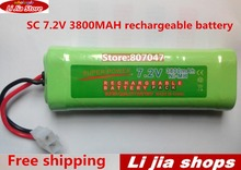 50pcs rechargeable battery pack 3800mah SC 7.2v NiMH batterie 7.2v rc battery Pack 7.2v for RC Car Truck Buggy boat(China)
