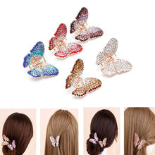 Fashion Women Girl Butterfly Claw Crystal Rhinestone Hair Clip Clamp Hairpin Jaw(China)