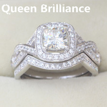 Queen Brilliance Heavier Version 1.1 Ct Cushion Cut Engagement&Wedding Moissanite Diamond Ring Set Solid 14K 585 White Gold(China)