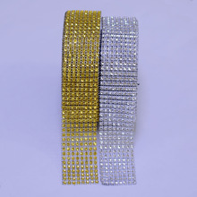 10 Yards 4cm 8 rows Gold Silver Diamond Mesh Trimming Wrap Roll Sparkle Rhinestone Crystal Cake Ribbon Wedding Party Decorations