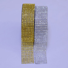 10 Yards 4cm 8 rows Gold Silver Diamond Mesh Trimming Wrap Roll Sparkle Rhinestone Crystal Cake Ribbon Wedding Party Decorations(China)
