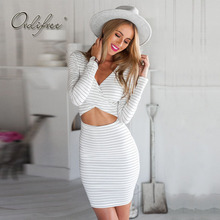Buy Ordifree 2017 Autumn Women Sexy Bodycon Dress Casual T-shirt Dress V Neck Long Sleeve White Striped Dress for $16.80 in AliExpress store