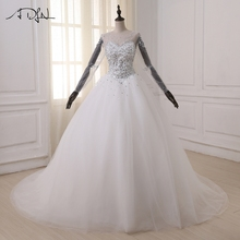Buy ADLN Ball Gown Wedding Dresses 2017 Long Sleeve Arabic Wedding Gowns Pearls Crystals Sweep Train Bride Dresss Vestido De Noiva for $181.30 in AliExpress store