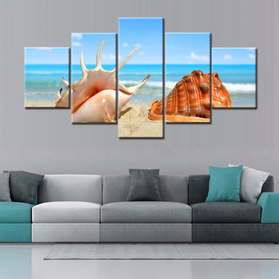 Canvas Wall Art 5 Panels Shells Starfishes Conch Sea Snails Fishing Painting Giclee Prints on Canvas for Home Office Decoration(China (Mainland))