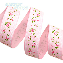 (5 yards/lot) Pink grosgrain ribbon printed lovely floral series ribbons(China)
