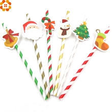 10PCS DIY Merry Christmas Paper Straws Drinking Straws Kids Birthday/Christmas Party Decoration Supplies Paper Drinking Straws