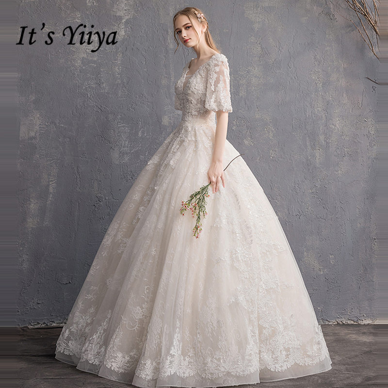 It's YiiYa Wedding Dress 2019 Illusion Appliques Beading Embroidery V-neck Princess Ball Bridal Gowns TB023 De Novia Casamento