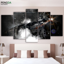 Modern Wall Art Canvas HD Printed Painting Frame Home Decor 5 Pieces Train Poster Steam Smoke Modular Abstract Pictures PENGDA(China)