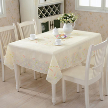 Fashion PVC Tablecloth Rectangle 137x180cm Golden Flower Printed Waterproof Oilproof Plastic Table Covers Home Supply