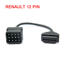 DHL Free Shipping New Arrival Renault 12 Pin To 16 Pin OBD2 Female Cable Professional Renault 12pin OBD Diagnostic Connector(China)